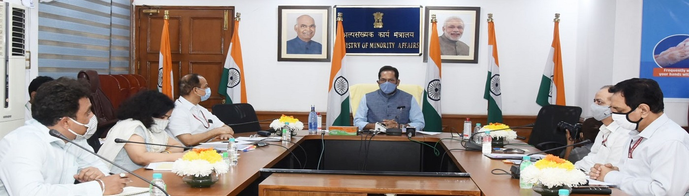 The Union Minister for Minority Affairs, Shri Mukhtar Abbas Naqvi chairing a Haj 2021 review meeting, through video conferencing, in New Delhi on October 19, 2020. The Secretary, Ministry of Minority Affairs, Shri Pramod Kumar Das and other dignitaries are also seen.